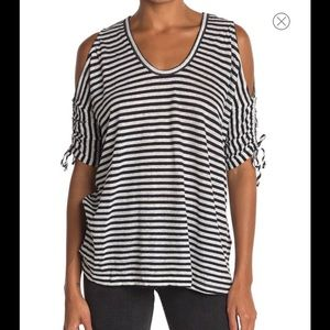 ALLSAINTS Harper Striped Cold Shoulder T-Shirt-